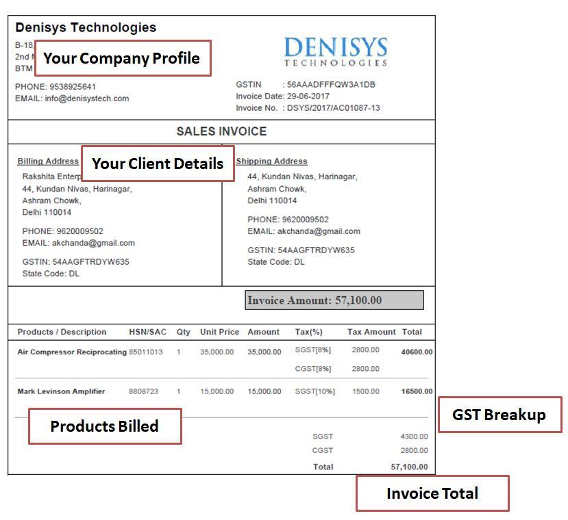 GST based Invoice Sample